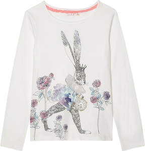 Billieblush Billie Blush Cat print long-sleeved cotton top 4-12 years