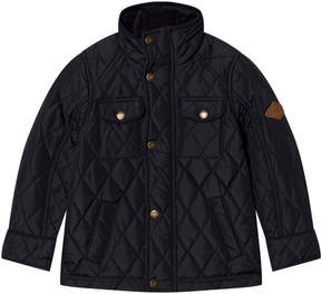 Joules Navy Quilted Jacket with Corduroy Collar