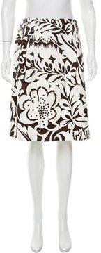 Carolina Herrera Tropical Print A-Line Skirt