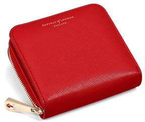 Aspinal of London Mini Continental Zipped Coin Purse In Scarlet Saffiano
