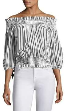 Caroline Constas Lou Stripe Off-Shoulder Top