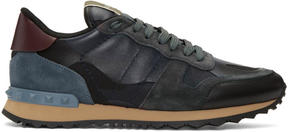 Valentino Navy Garavani Camouflage Rockrunner Sneakers