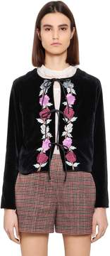Blugirl Floral Embroidered Velvet Jacket