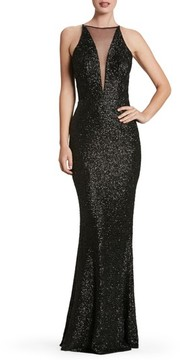 Dress the Population Women's Brenda Plunging Illusion Sequin Mermaid Gown