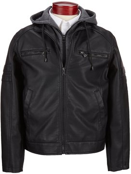 Murano Faux Leather Jacket with Removable Hood