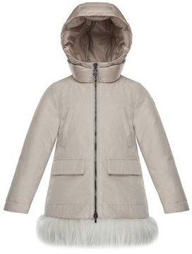 Moncler Chevronne Fur-Hem Long Coat, Size 4-6