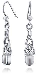 Celtic Bling Jewelry Knot Bezel Moonstone Sterling Silver Drop Earrings.