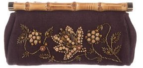Michael Kors Bamboo-Trimmed Embroidered Clutch - BROWN - STYLE