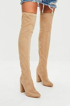 Missguided Nude Pointed Faux Suede Over The Knee Boots