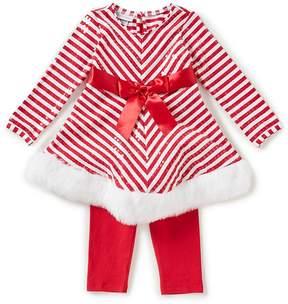 Bonnie Jean Little Girls 2T-6X Striped Ribbon-Trim Dress & Leggings Set