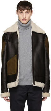 Paul Smith Brown Panelled Shearling Jacket