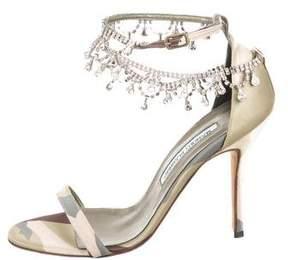 Manolo Blahnik Jewel-Embellished Ankle Strap Sandals