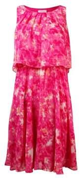 Calvin Klein Women's Chain-Belt Popover Printed Chiffon Dress
