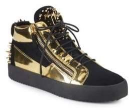 Giuseppe Zanotti Studded Metallic Mid-Top Sneakers