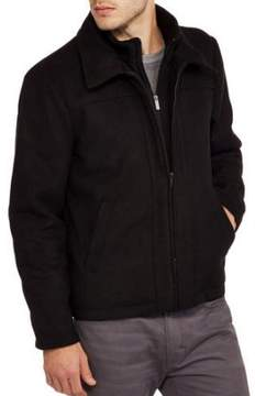 Blend of America BLACKOUT Men's Wool Zip Front Jacket with Layered Collar