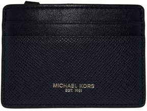 Michael Kors Women's Harrison Credit Card Case Leather Wallet Baguette - Navy - NAVY - STYLE