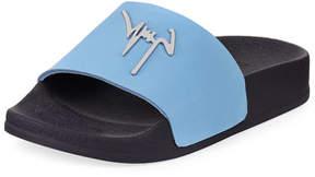 Giuseppe Zanotti Birel Leather Slide Sandal, Black, Toddler/Youth Sizes 9T-2Y