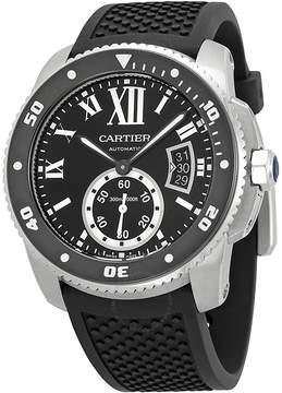 Cartier Calibre de Black Dial Rubber Men's Watch W7100056