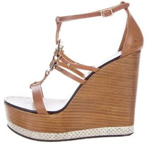 Roberto Cavalli Leather Platform Wedges