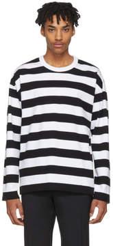 Ami Alexandre Mattiussi Black and White Long Sleeve Striped T-Shirt