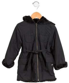 Lili Gaufrette Girls' Hooded Reversible Jacket