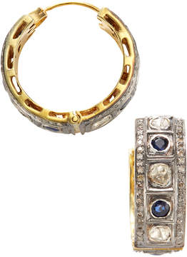 Artisan Women's 18K Gold Diamond & Sapphire Hoop Earrings
