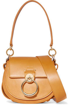 Chloé Tess Small Leather And Suede Shoulder Bag - Saffron