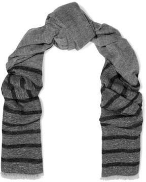 Brunello Cucinelli Striped Metallic Knitted Scarf - Gray