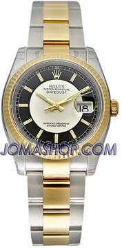 Rolex Oyster Perpetual Datejust 36 Silver and black Dial Stainless Steel and 18K Yellow Gold Bracelet Automatic Men's Watch