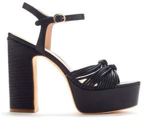 Rachel Zoe | Avery Knotted Leather Platform | 6.5 us | Black