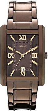 JCPenney RELIC Relic Allen Mens Rectangular Brown Dial Watch ZR77242