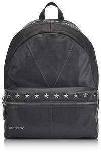 Jimmy Choo Men's Black Leather Backpack.