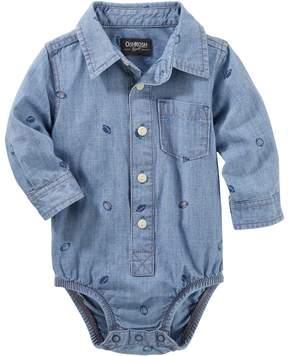 Osh Kosh Baby Boy Football Chambray Bodysuit