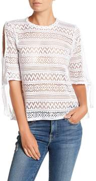 C&C California Perry Netted Tie-Sleeve Pullover
