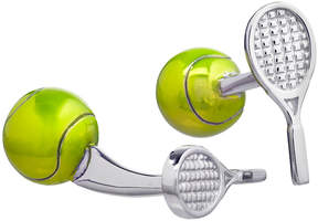 Jan Leslie Enameled Tennis Ball & Racquet Cuff Links, Silver/Yellow