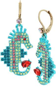 Betsey Johnson CRABBY COUTURE SEAHORSE DROP EARRINGS