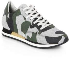 Philippe Model Tropez Camo-Print Leather Low-Top Sneakers