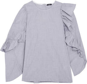 Clu Asymmetric Ruffled Cotton Top - Gray