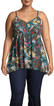 Boutique + + Adjustable Spaghetti Strap Floral Woven Tank Top - Plus