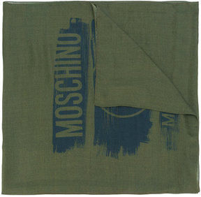 Moschino woven distressed logo scarf