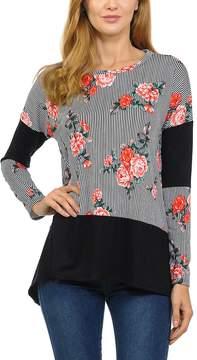 Celeste Black Floral Color Block Tunic - Women