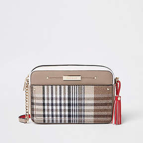 River Island Brown check print boxy cross body bag