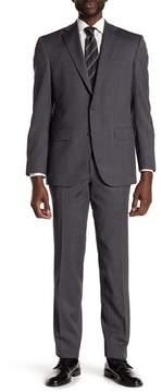 David Donahue Grey Sharkskin Two Button Notch Lapel Wool Classic Fit Suit