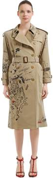 Burberry Graffiti Printed Cotton Trench Coat