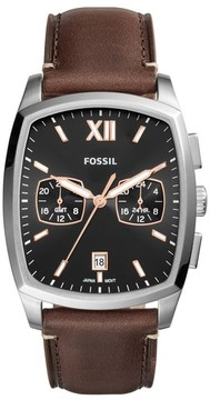 Fossil Men's Knox Dual Time Leather Strap Watch, 38Mm X 32Mm