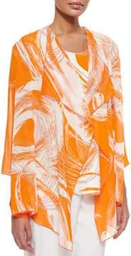 Caroline Rose Orange Swirl Draped Jacket, Plus Size
