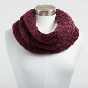 World Market Berry Chunky Knit and Faux Sherpa Snood Scarf