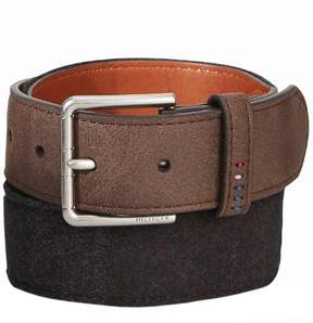 Tommy Hilfiger Mens Felt Panel Handcrafted Synthetic Leather Belt Brown 38