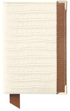 Aspinal of London Passport Cover Deep Shine Ivory Small Croc Camel Lizard