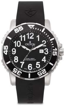 Croton Men's All Stainless Steel Quartz Silicon Strap Black Dial/Black Bezel Watch with Date